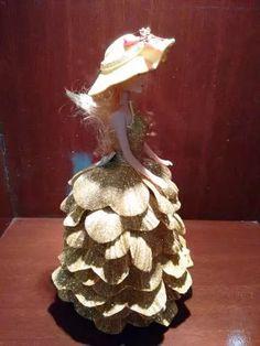 bonecas barbie c/ vestido de eva / decoração p mesa casament