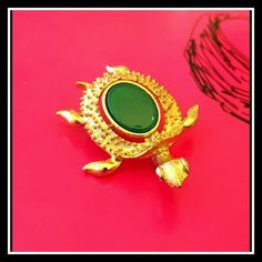 """Vintage Turtle brooch! Green Gem  Cute textured Vintage Turtle brooch with smooth Green Gem inset in its shell.  This cute guy measures:  1 1/2"""" length x 1 1/4"""" width  Great vintage condition!!  Unsigned Keywords: Charms, artist, geometric, eclectic ,one of a kind Vintage Jewelry Brooches"""