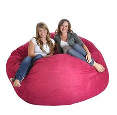 SLACKER sack 6-Feet Foam Microsuede Beanbag Chair, X-Large, Hot Pink