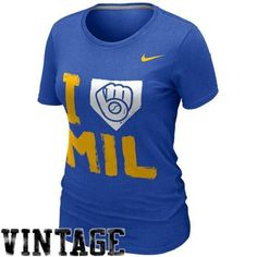 Nike Milwaukee Brewers Ladies I Love Slim Fit T-Shirt - Royal Blue