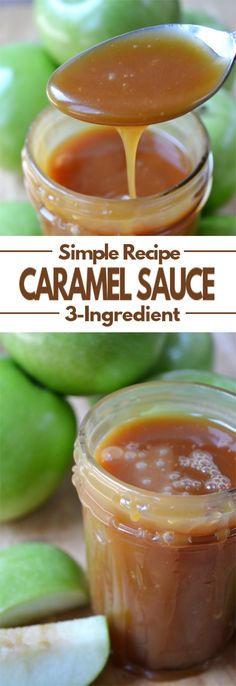 Homemade Caramel Sauce - A super simple, thick, yet smooth, sweet topping that tastes amazing with apples, ice cream or many of your favorite fall desserts. easy 3 ingredients easy for a crowd easy healthy easy party easy quick easy simple Caramel Sauce Easy, Caramel Dip, Homemade Caramel Sauce, Caramel Recipes, Desserts Caramel, Caramel Ice Cream Topping Recipe, Carmel Sauce Recipe, Fall Desserts, Dessert Recipes
