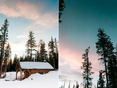 Sunset at the snow survey cabin in the snowy range mountains, Wyoming by Laramie based photographer, Megan Lee Photography.