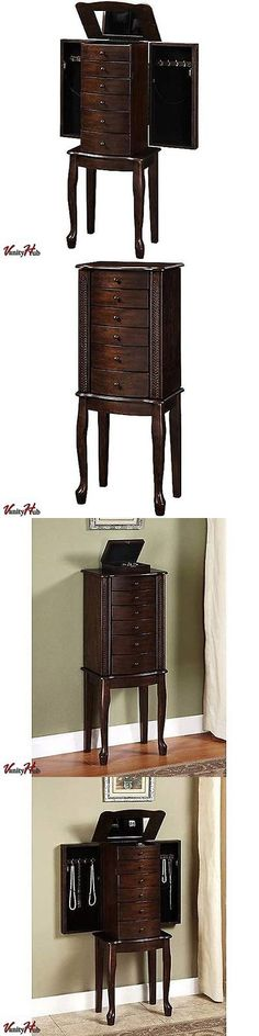 jewelry boxes mirrored jewelry armoire box organizer tall stand up cabinet walnut wood storage - Stand Up Jewelry Box