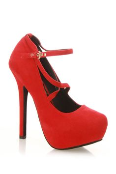 Dollhouse Seduction Pump In Red Suede - Beyond the Rack