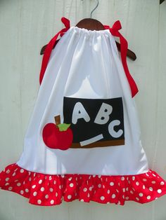 Applique Back To School #ABC Apple Chalkboard #Pillowcase #Dress From @Misty Schroeder'sBoutique A Is For Apple from @Etsy