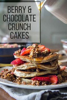 Mixed Berry and Chocolate Crunch Cakes recipe || Add a decadent twist to your brunch menu with these chocolate and berry laced pancakes! || @thismessisours @naturespath