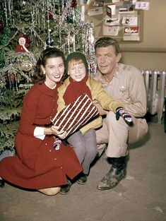 Vintage Christmas photo - Elinor Donahue, Ron Howard, and Andy Griffith - The Andy Griffith Show.
