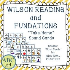 """Wilson Reading and Fundations """"Take-Home"""" Sound Cards! These flashcards are a perfect tool for parents to use to reinforce the letters, keywords, and sounds that are being taught during your Fundations and Wilson Reading lessons! Included in this pdf."""