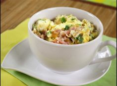 Denver Omelette in a Mug Recipe. Tried it -- this one is my favorite, as I loved the addition of various veggies. Such an easy, yummy, comfortingly hot breakfast.