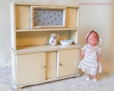 German vintage 1930s dollhouse kitchen cabinet cupboard with glass door, shabby cottage chic miniature dollhouse furniture