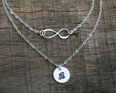 Double layered infinity initial necklace,personalized infinity necklace with