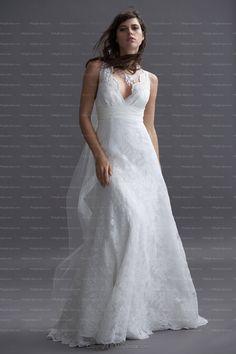A-line V-neck White Lace Sash Satin Floor-length Wedding Dress at Millybridal.com  £134.89