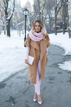 Change up your color palette this winter by pairing rose quartz (the color of the year!) with a rich camel tone.