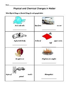 Worksheet: Physical Vs Chemical Changes | Chemical change, Shorts ...