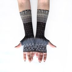Grey Shiny fingerless gloves mittens arm warmers  by WearMeUp, $21.50