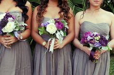 grey bridesmaids dresses and purple-filled bouquets, photo by elevation9photography.com