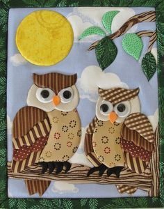Rectangular MDF box, lined with cotton. Cover worked in inlaid patchwork. Bird Applique, Applique Quilt Patterns, Owl Patterns, Applique Designs, Owl Quilts, Bird Quilt, Animal Quilts, Baby Quilts, Patch Quilt