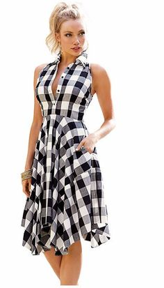 Vintage checks flared plaid shirt dress