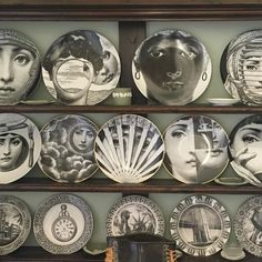 """Pebble Hill Design & Creative's Instagram post: """"Fornasetti collection. #fornasetti #obsessed #collector #chinacabinet #plates #tabletop #porcelain #collection #interiordesign…"""""""