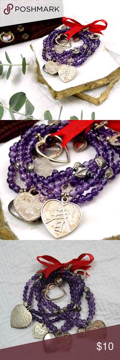 Bundle of 5 Purple Bead Silver Charm Bracelets Never worn, but have been sitting in my drawer for a while so there is some slight tarnishing.  🌹Please ask any questions before ordering. 🌹Pet Free & Smoke Free home. 🌹I will consider all offers made through the offer button. 🌹My cover photos are edited. Additional photos have most accurate color. 🌹Bundle and save! Jewelry Bracelets
