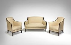 Jean-Michel Frank, 'Pair of armchairs and sofa,' ca. 1927, Galerie Marcilhac