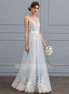 [R$ 752.87] Vestidos princesa/ Formato A Decote V Longos Tule Renda Vestido de noiva com Beading lantejoulas (002119807)
