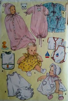 1950's Vintage Sewing Pattern Infants Clothing by Sutlerssundries, $14.95