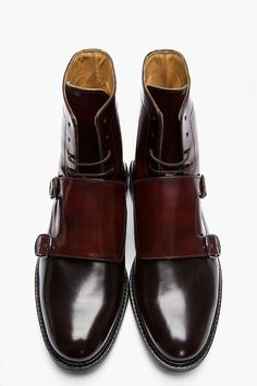 Carven Mahogany two-tone monk strap boots.