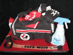 Hockey cake bag -- this comes closer to art than food.Unless the Febreeze bottle is made out of sugar or marzipan, I'd rather look at this than eat it! Hockey Cakes, Hockey Party, Bag Cake, Cupcake Cookies, Cupcakes, Marzipan, Love Cake, 40th Birthday, Cake Designs