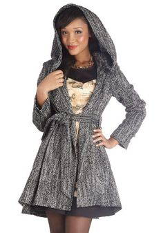 Once Upon a Thyme Coat in Salt and Pepper, #ModCloth