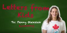 Four-time Olympic medallist Penny Oleksiak reads a fan letter from a young correspondent. Olympic Team, Olympics, Canada, Letters, Reading, Kids, Outdoors, Fan, Sports