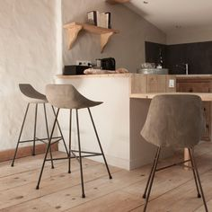 Lyon Beton Concrete Hauteville Counter Stool, The Lyon Beton Hauteville Bar Stool is made from a reinforced concrete shell which forms a classic modern shaped seat. To continue the raw material theme it is sat on metal rebar legs. The raw concrete has been sanded to a smooth finish to offer a comfortable ergonomic dining chair.  This remarkable counter stool will add an industrial inspired finishing touch to any counter top, indoors or out.