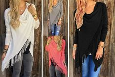 instead of (from Boni Caro) for a boho chic tassel jumper - choose from four fabulous colours and save Cool Things To Make, Stitch Fix, Boho Chic, Tassels, Jumper, Cover Up, Colours, Best Deals, Pink