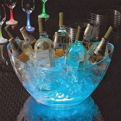 Bury Glow Sticks in The ice tub for outside parties - makes it easier to see what drinks there are on offer! Visit www.candlesandfavors.com for personalized invitations, thank you notes and party favors!!!