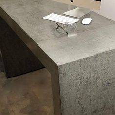 """Concreate UK on Instagram: """"Monday Design Motivation. Here's some clever concrete design. This desk structure was clad in Concreate wall panels creating the appearance…"""" Concrete Design, Dining Table, Desk, Cement, Wall, Furniture, Motivation, Instagram, Home Decor"""