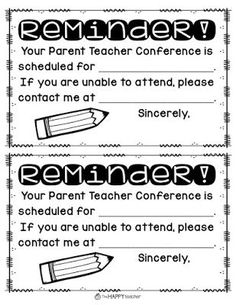 Freebie editable forms you can use for parent teacher conferences parent teacher conference tip send home parent teacher conference reminder form paper and altavistaventures Choice Image