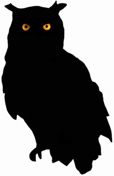 owl silhouette- print out and trace onto black construction paper. Put in windows for a creepy look! M