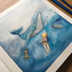 Swimming with a whale 🐋 If you can dream you can travel and do anything you wish 😉 Day 184 #365 #365daysofhappiness #365project #illustration #illustrator #illustrationart #drawing #drawingeveryday #childrensbooks #children #picturebook #whale #whaleinocean #thegirlthefoxandtwobears #swimmingwithwhale #tsusketch #tsusketchaquatop #notebook #sketchbook #sketchingeveryday #dreamscometrue #dreaming