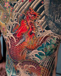 Dragon Tattoo Colour, Dragon Tattoo Back, Dragon Tattoo Designs, Dragon Tattoos, Japanese Tattoo Koi, Japanese Tattoo Designs, Japanese Koi, Asian Tattoos, Leg Tattoos
