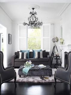 Oliver Interiors   Living Rooms   Gray Living Room, Gray Sofa, 2 Seat Sofa,  Silver And Black Pillows, Teal Pillows