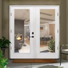 Primed White Fiberglass Prehung Right Hand Outswing Full Lite Patio Door