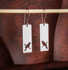 Brushed Sterling Bird Earrings by JensSilverworks on Etsy