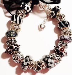 Black-Silver-Antique-Inspired-Adjustable-Bracelet-European-Bead-Handmade-USA