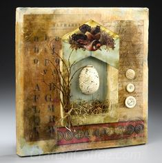 Make a Beautiful, Mixed Media Spring Shrine with Collage Techniques and Encaustic Wax ,
