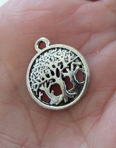 8 Tree charms, all 8 for only $2.50 and you can buy by the peice after that for a bit cheaper, tree of life charm, tree pendant, keychain charms, forest charms, nature charms, 3 trees, family tree, tree in circle - F362
