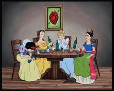 Oh you've never imagined what would happen if Prince Eric and Prince Phillip were in love? Or if the Disney princesses got drunk with Frida Kahlo? Disney Kunst, Disney Art, Disney Pixar, Disney Girls, Disney Movies, Dark Disney, Cartoon Cartoon, Cartoon Images, Heros Disney