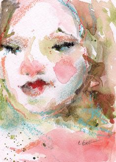 Watercolor Pastel Portrait, 5 x 7, Womans Face, Wall Art Portrait Art, Abstract Watercolor With Mat, Free Shipping, Pink Art, Female Art, Corinne Galla, Original Watercolor, Original Pastel Pale, delicate and pretty, and with a little pink nose! This watercolor and pastel