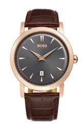 BOSS HUGO BOSS Round Leather Strap Watch, 40mm