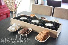 LOVE!! indoor s'mores bar... using Sternos! See the whole CAMPING PARTY from VixenMade!