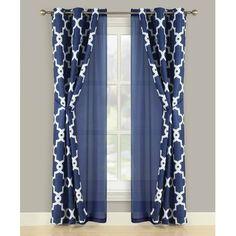 Charlton Home Edison Park Geometric Semi-Sheer Grommet Panel Pair Color: Navy Blue Curtains Living Room, Home Curtains, Curtains With Blinds, Curtain Panels, Layered Curtains, Colorful Curtains, Warm Bedroom Colors, Rideaux Design, Classy Living Room